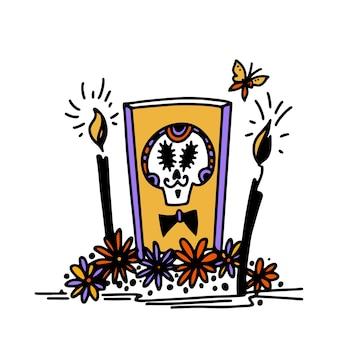 Dia de los muertos desenhado à mão no estilo alatar com a imagem de uma caveira de açúcar