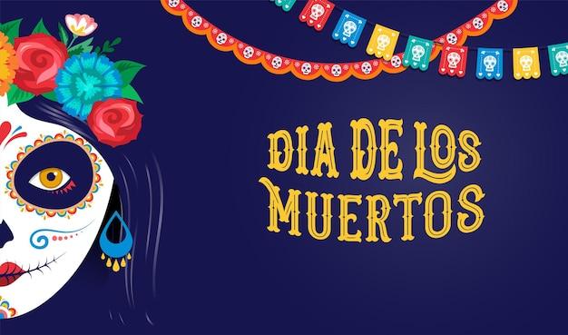 Dia de los muertos dia dos mortos banner cartaz festival feriado mexicano e cartão com maquiagem de