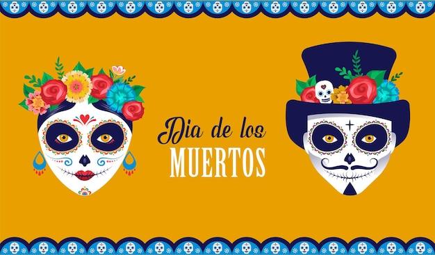 Dia de los muertos dia dos mortos banner de cartaz do festival de férias mexicanas e cartão com maquiagem de