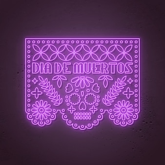 Dia de los muertos - dia dos mortos, estilo neon mexicano