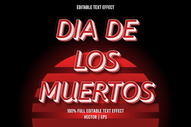 Dia de los muertos efeito de texto editável cor vermelha