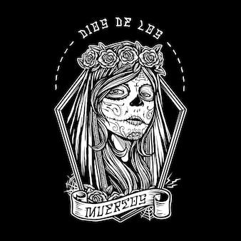 Dia de los muertos menina pintura de rosto