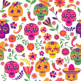 Dia de los muertos padrão sem emenda do vetor. os principais símbolos do feriado no escuro ba