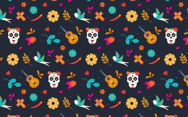 Dia de los muertos padrão sem emenda