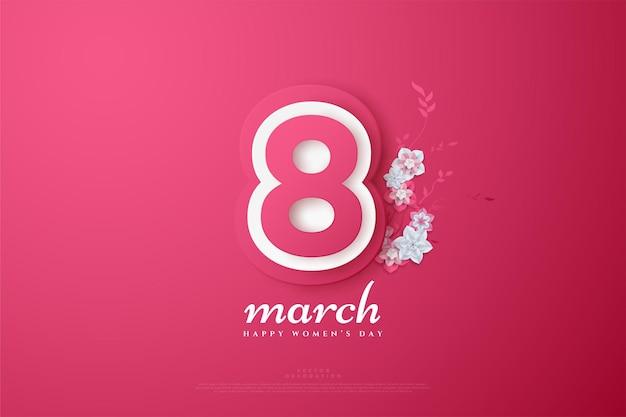 Dia de março com os números em camadas em cores suaves.