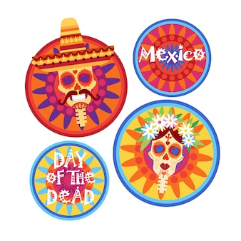 Dia de morto tradicional dia das bruxas mexicano dia de los muertos feriado decoração do partido do convite da bandeira