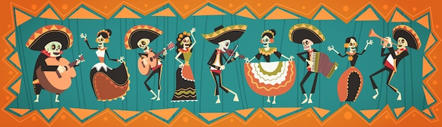 Dia de morto tradicional dia das bruxas mexicano dia de los muertos feriado festa decoração banner convite