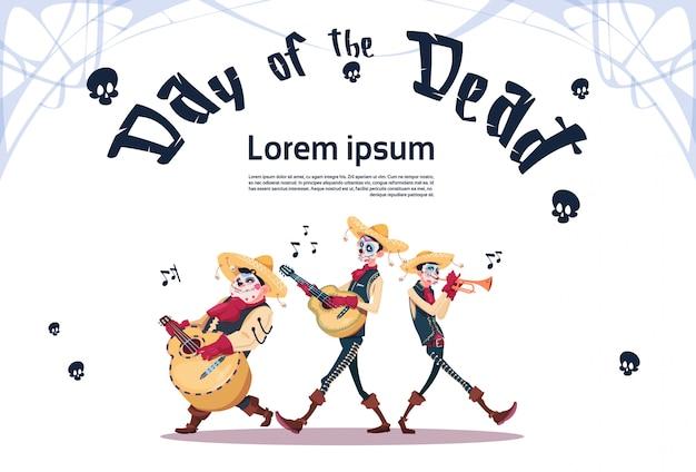 Dia de morto tradicional mexicana do dia das bruxas feriado decoração de festa banner convite skeleton play guitarra