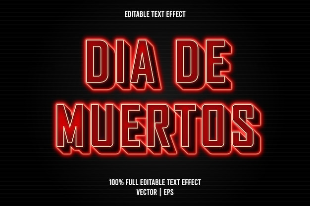 Dia de muertos com efeito de texto editável estilo neon
