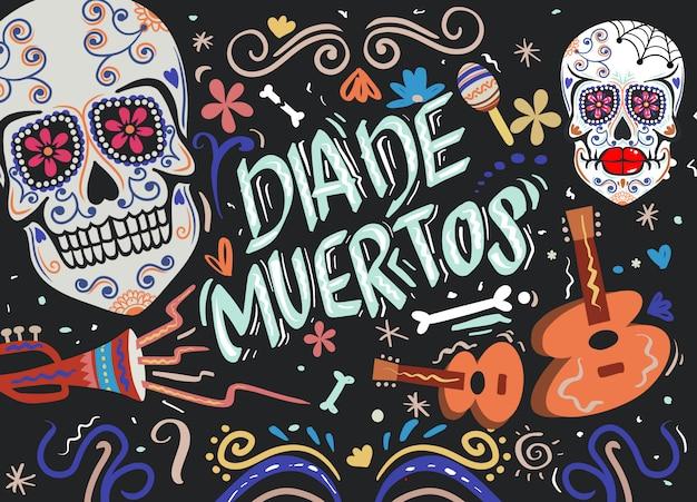 Dia de muertos, dia dos mortos, caveira mexicana de açúcar com instrumento
