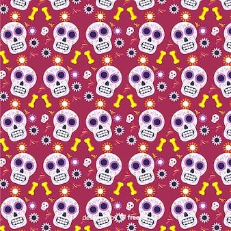 Dia de muertos liso vermelho com padrão de caveiras