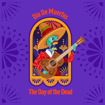 Dia de muertos o dia do homem-esqueleto morto tocando violão