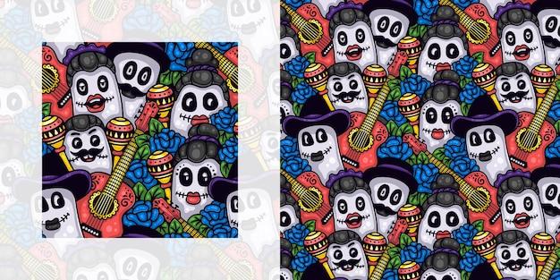 Dia de muertos ou dia dos mortos padrão de doodle sem costura de pessoas com rosas e instrumentos musicais