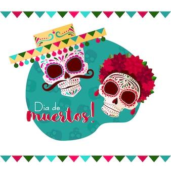 Dia de muertos! um crânio em um chapéu mexicano