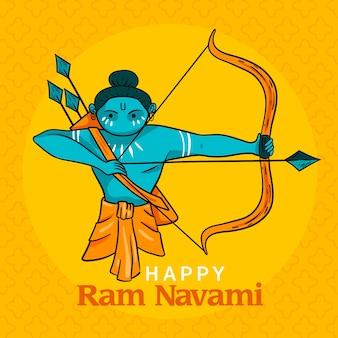 Dia de navami ram feliz desenhados à mão