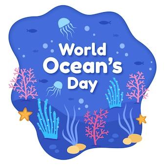 Dia de oceanos mão desenhada vida marinha