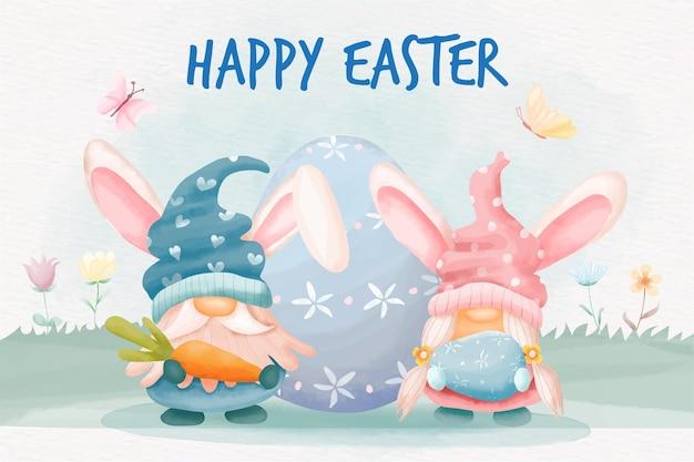 Dia de páscoa em aquarela com coelho de gnomos e ovos de páscoa