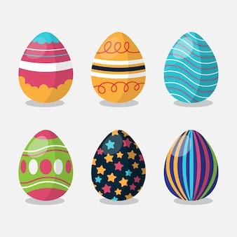 Dia de páscoa plana pintada conjunto de ovos