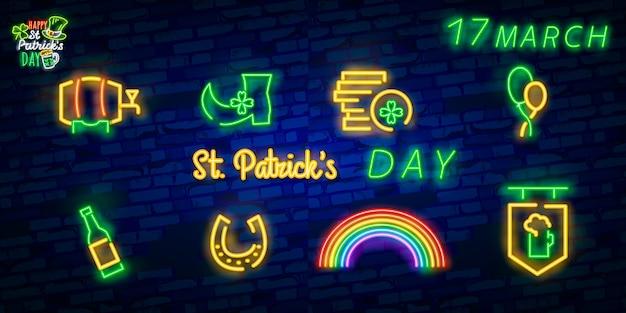 Dia de patrick sinal de néon.