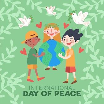 Dia de paz com as pessoas abraçando a terra