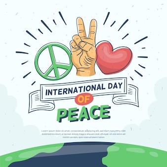 Dia de paz com o símbolo e o coração da paz
