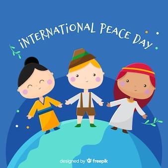 Dia de paz de design plano com crianças