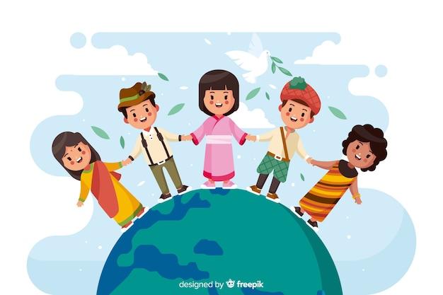 Dia de paz design plano com crianças