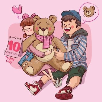 Dia de pelúcia super fofo amor alegre romântico casal dos namorados presente de namoro desenhado à mão ilustração colorida