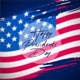 Dia de presidentes em design plano com bandeira