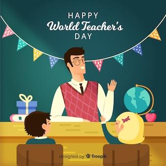 Dia de professores de mão desenhada mundo com guirlanda
