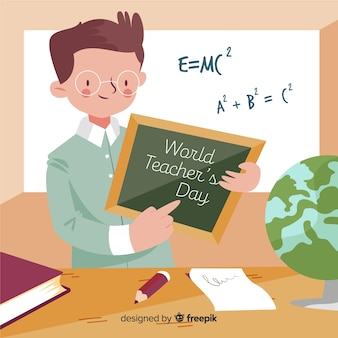 Dia de professores de mão desenhada mundo com homem mostrando um quadro-negro