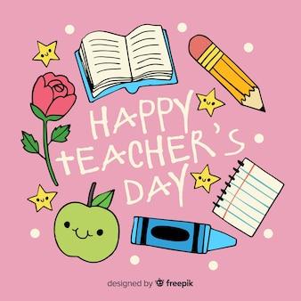 Dia de professores de mão desenhada mundo com material escolar