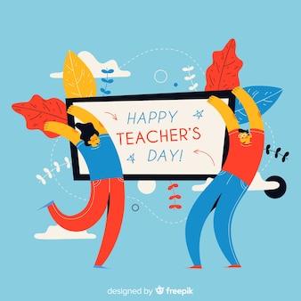 Dia de professores de mão desenhada mundo