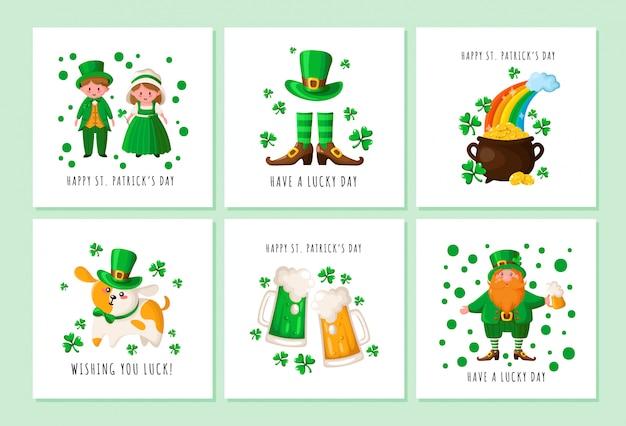 Dia de saint patrick - duende, menina e menino em trajes retrô irlandeses, caldeirão com moedas de ouro, botas e stocckings
