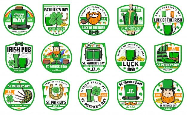 Dia de saint patrick e conjunto de distintivo de feriado irlandês
