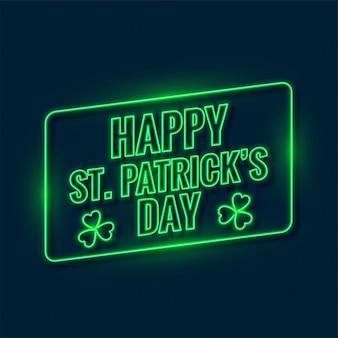 Dia de saint patricks escrito em luz de neon