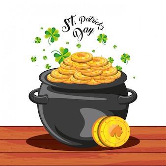Dia de são patrício com caldeirão e moedas