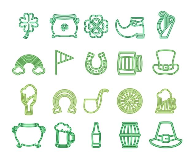 Dia de são patrício com ícones de néon