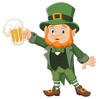 Dia de são patrício dos desenhos animados, leprechaun com caneca de cerveja