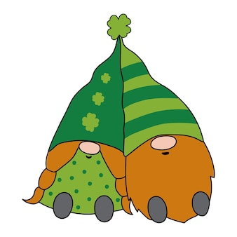 Dia de são patrício gnome patricks gnomes ilustração em vetor estilo desenho animado desenhado à mão