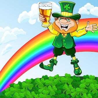 Dia de são patrício, leprechaun feliz dançando com um copo de cerveja em um prado sob um arco-íris