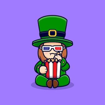 Dia de são patrício: leprechaun fofo assistindo filme personagem de desenho animado