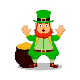 Dia de são patrício personagem de desenho animado leprechaun com caldeirão e moedas