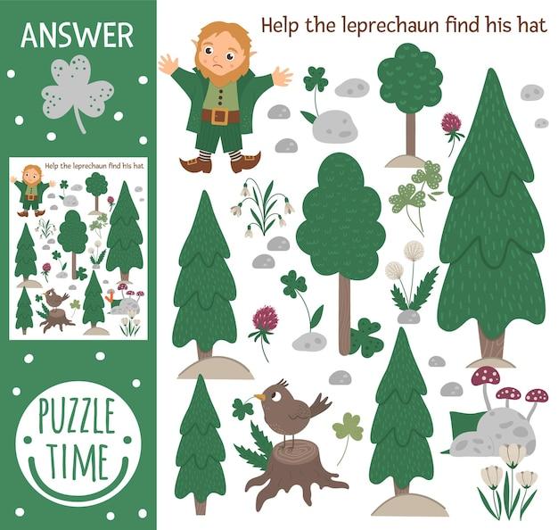 Dia de são patrício procurando jogos para crianças com duende na floresta da primavera