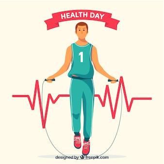 Dia de saúde, fundo, wirh, homem, exercitar, mão, desenhado, estilo