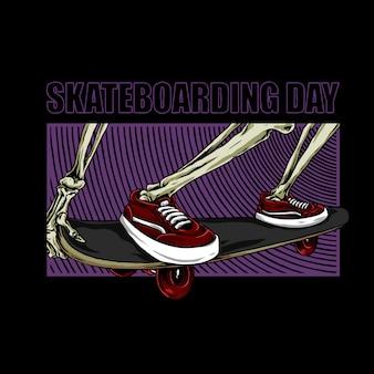 Dia de skate, pernas de esqueleto em um skate