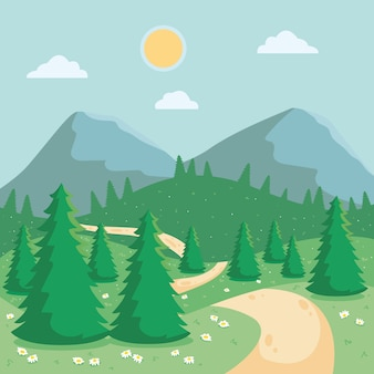 Dia de sol com montanhas e floresta paisagem de primavera