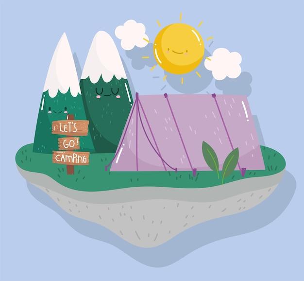Dia de sol na floresta da barraca de acampamento em estilo cartoon