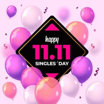 Dia de solteiros com balões realistas