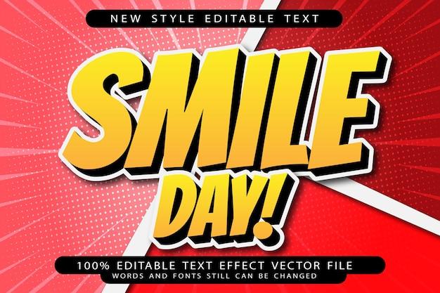 Dia de sorriso com efeito de texto editável em relevo estilo desenho animado
